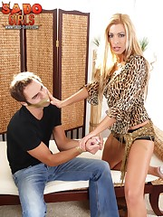Blonde mistress punished slaveboy