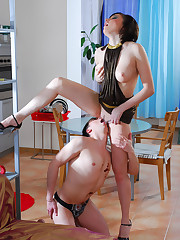 Double dildo trial for a house slave