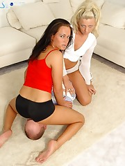 Two girls sat on one slave