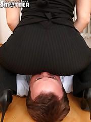 Office girl facesitter