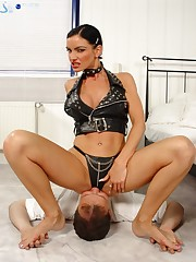 Hot Mistress in leather clothes wants her pussy licked