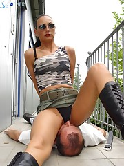 Crazy fetishist likes his Mistress to sit on his face