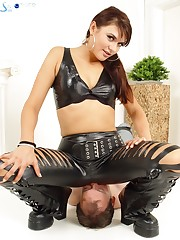 Bound sub enjoying his Mistress sitting with all her weight