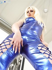 Pretty bitch in blue latex suit ready to give facesitting