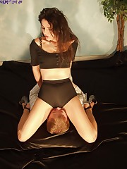 Posh girls smothering her poor tied male sub