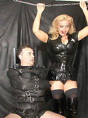 UK Mistress wore slaveboy in latex