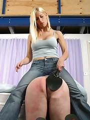 Blonde chick spanked boyfriend