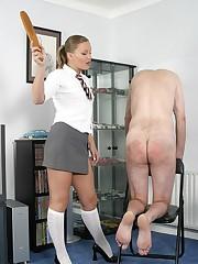 Wife spanked bad husband otk