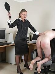 Lady boss is spanking office clerk