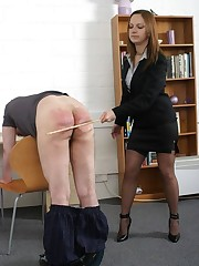 Lady boss spanked bad boy