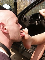 Slaveboy was punished and foot dominated outdoor