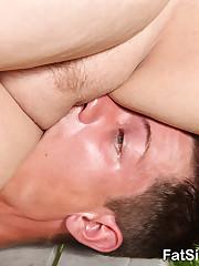 Blond big beautiful woman crashing boy's face with her ass