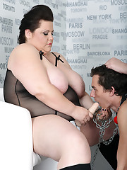 Strapon boy domination performed by 2 big beautiful woman dominas