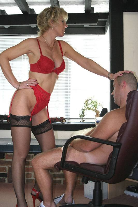Blonde over his knee for a spanking 8
