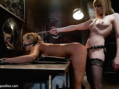 Big titted milf acquires punished and drilled by female-dominator Madeline