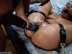 Giant strap-on knobs fuck enormous fastened Charley chase plus squirting