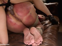 Badly spanked and gagged sub has her cunt fucked