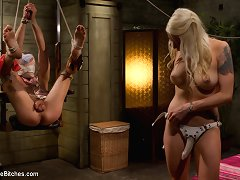 Pussyboy with a bad attitude acquire abused and butt fucked by hot golden-haired maitresse