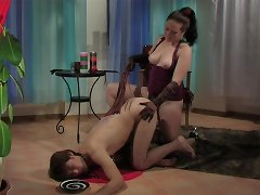 Obedient puppy serves his mistress