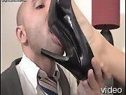 Submissive lover licked heels