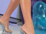 Bombshell showing off her high heels