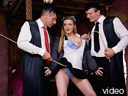 Horny blonde student meets with two teachers