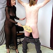 Older woman spanks guy