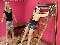 Strapping action with two blonde lesbians