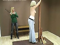 Bad blonde babe was punished