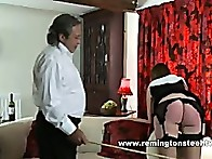 Now it is time for Sarah to receive the cane on her exposed bottom