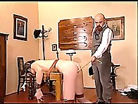 Helpless gal get her bottom caned beyond all recognition