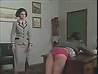 Schoolgirl slut is caned brutally over the desk until tears are flowing