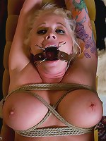 Busty Angel Vain gets punished fucked in bondage for stealing.