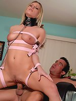 This busty blond gets bound and tied.