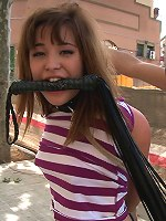 18 year old slut is tied up in public, ass fucked, and paraded around with cum on her face