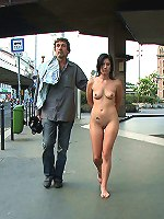 Hot brunette bound and fucked then made to walk on a crowded bridge with cum covering her face. Exposed and nude in public!