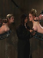 Two huge titted MILF\'s get bound hard in metal and are made to cum over and over!!