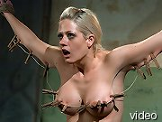 Training in pain and bondage for blonde slavegirl.