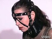 Naughty submissive in latex catsuit and bridle.