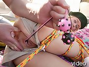 Teen scout's pussy gets filled with toys.