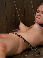 Blonde locked in a metal box and tormented with clips