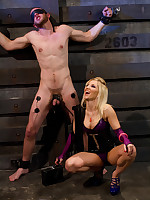 The latex blooper humiliates the caged boy