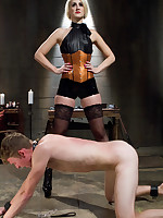 Two dominas flogged and fucked a malesub