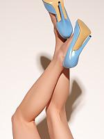 Emily Marilyn erotic blue overbearing heels plus stockings