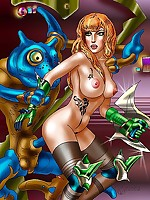 Big-busted fantasy illustration women in the nude
