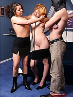Master and Mistress gang up to humiliate lovely redhead