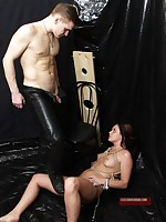 Forced fucking and blowjob for chained submissive