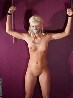 Blonde amateur gagged with duct tape