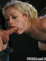 Spanked and suspended slavegirl takes it in the ass