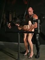 Device bondage permits rough fuck